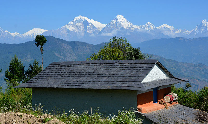 A pristine view of Annapurna Mountain from Dhama in Kathekhola
