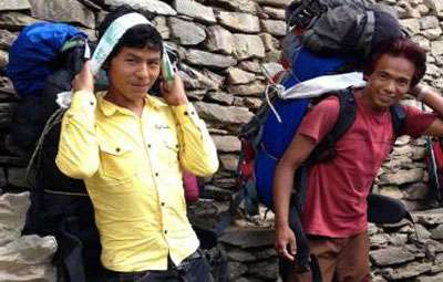 Trekking guide and porters