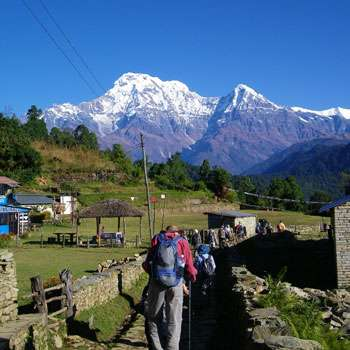 Trekkers walking toward Annapurna Base Camp