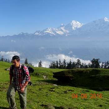 A trekker walks in Ganesh Himal Trekking Trail