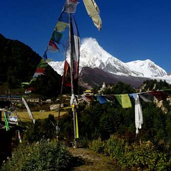 View from Lho Village in Manaslu