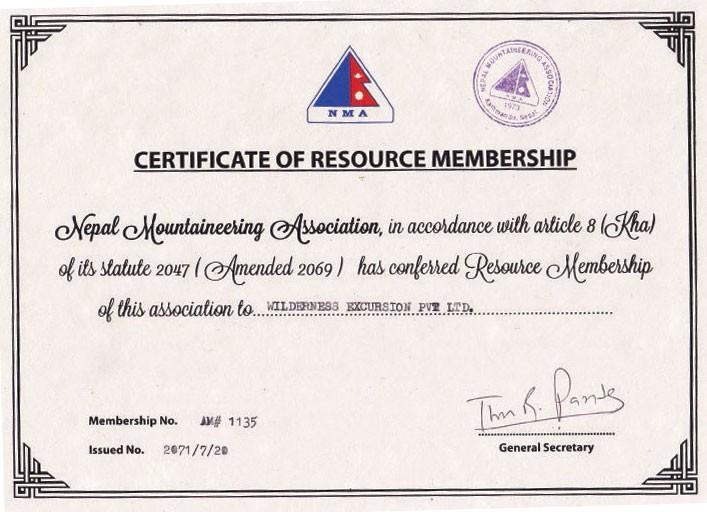 NMA Certificate of Resource Membership