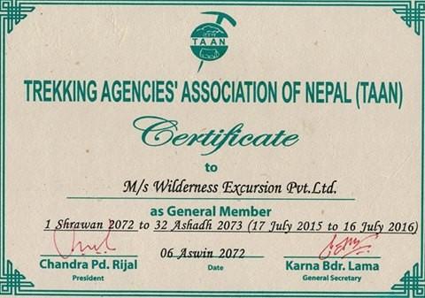 TAAN Membership Certificate