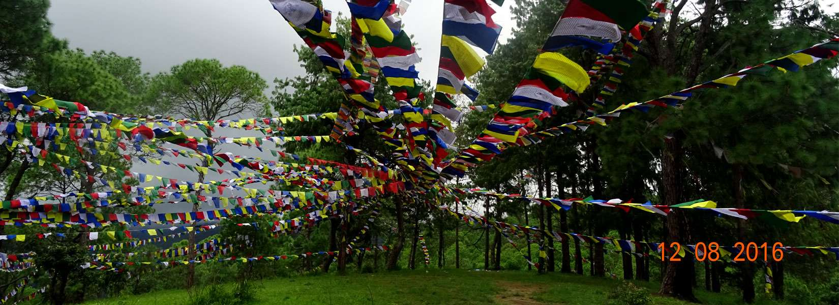 Buddhist Prayer flags in Champadevi