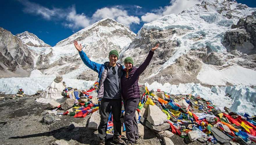 Trekkers poses for photo at Everest Base Camp
