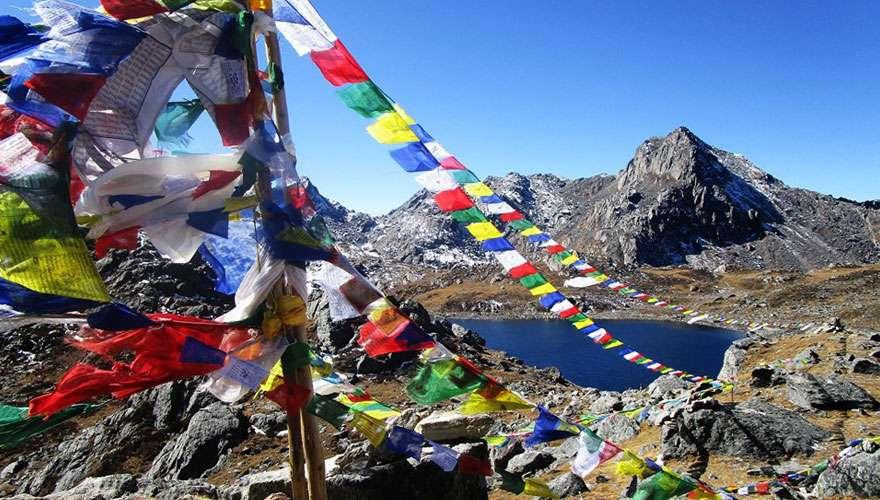 Gosaikunda Lake and Prayer flags