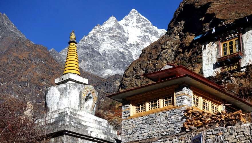 Mount Gauri Shankar above Beding Village in the Rolwaling Valley