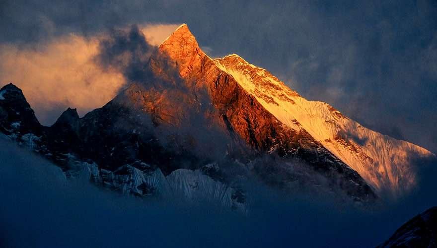 Sunset on Mount Machhapuchhre seen from Annapurna Base Camp
