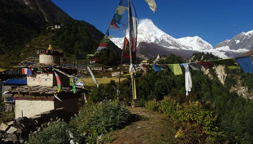 View from Lho in Manaslu Trekking Route