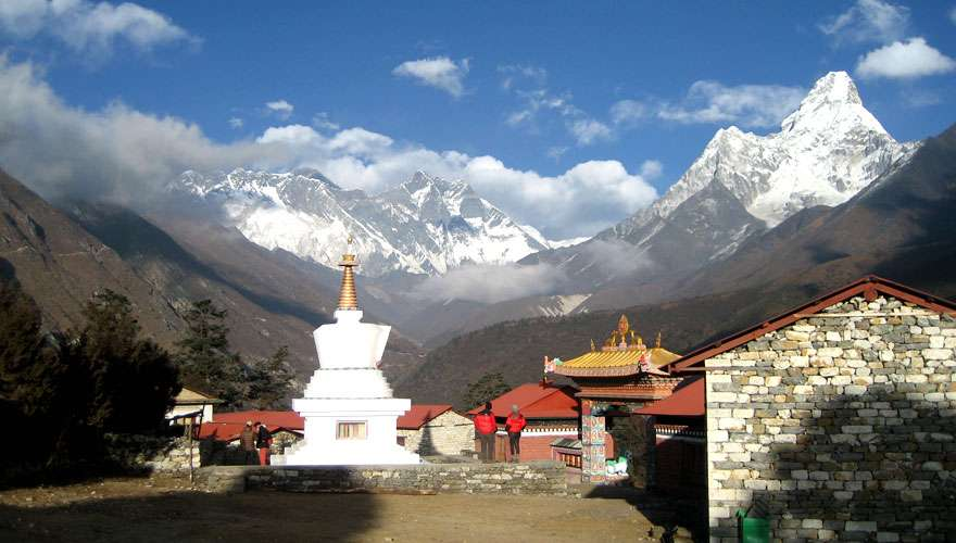 View of Everest, Lhotse and Ama Dablam from Tengboche