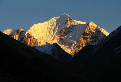 Sunset view on Mount Gangchhenpo in Langtang