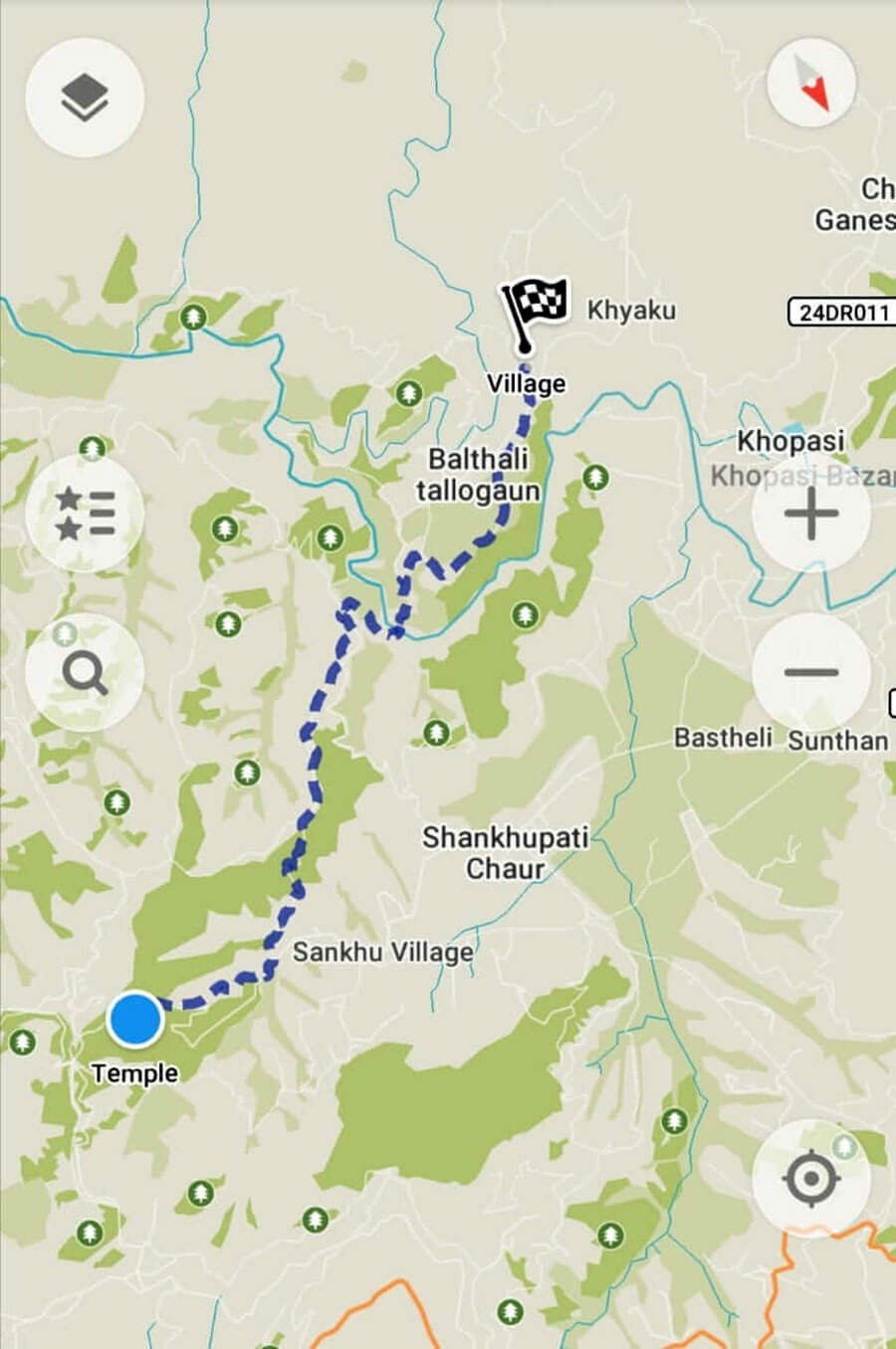 2 Days trip near Kathmandu, - Map