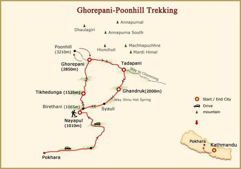 Ghorepani Poon Hill Trek - Map