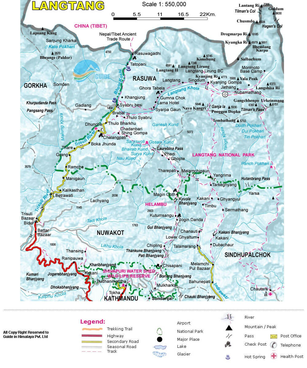 Classic Langtang Valley Trek - Map