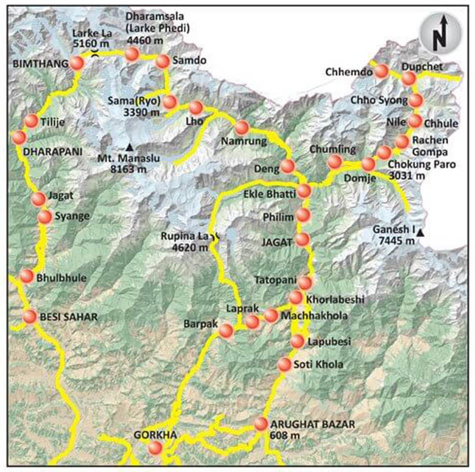 Manaslu Trek With Tsum Valley Side Trip - Map