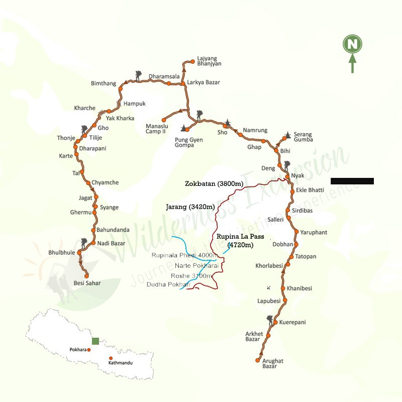 Manaslu Circuit Trek - Map