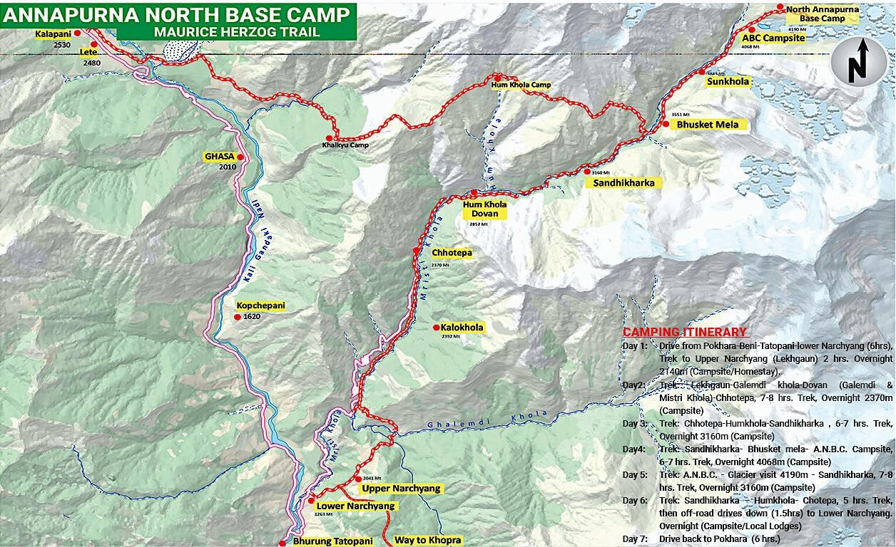 Annapurna North Base Camp Trek - Map