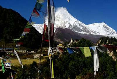 Mount Manaslu view from Lho